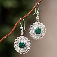 Chrysocolla flower earrings, 'Peace Blossom' - Chrysocolla flower earrings