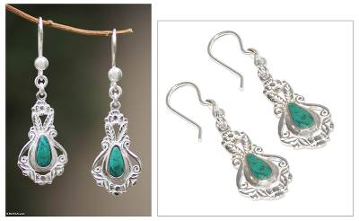 Chrysocolla dangle earrings, 'Classic Lima' - Chrysocolla dangle earrings