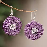 Sterling silver floral earrings, 'Lilac Blooms' - Sterling silver floral earrings