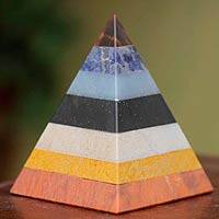 Jasper and onyx sculpture, 'Power of the Pyramid' - Fair Trade Geometric Multigem Sculpture