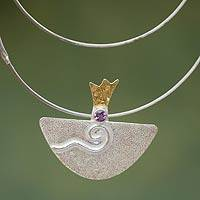 Gold accent amethyst pendant necklace, 'Dreamboat' (Peru)