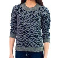 100% alpaca sweater, 'Dancing Blue Leaves' - 100% alpaca sweater