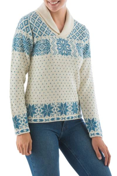100% alpaca sweater, 'Andean Snowflakes' - 100% alpaca sweater