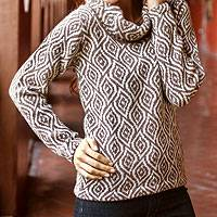 100% alpaca sweater, 'Dancing Brown Leaves' - Fair Trade Alpaca Wool Turtleneck Sweater