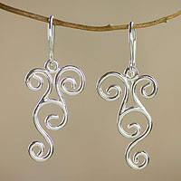 Sterling silver dangle earrings, 'Abstract Arabesque' - Sterling silver dangle earrings