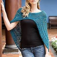 Pima cotton capelet, 'Blue Condor' - V-neck Capelet Crocheted by Hand from Peru