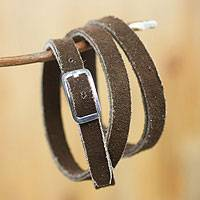 Sterling silver accent leather wrap bracelet, 'Fascination' - Sterling silver accent leather wrap bracelet