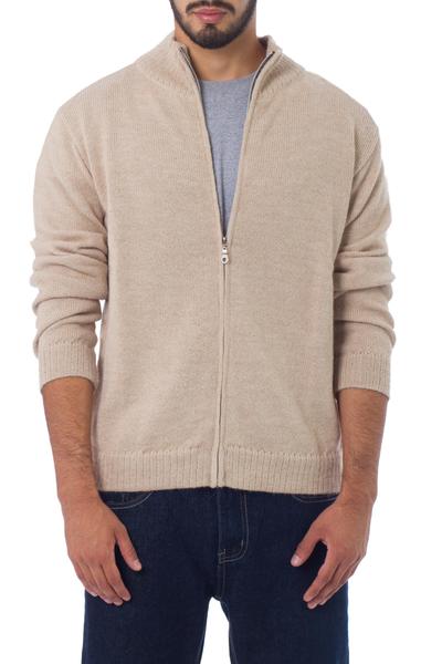 Men's 100% alpaca cardigan, 'Modern Beige' - Men's 100% alpaca cardigan