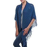 100% alpaca shawl, 'Arequipa Sky' - Unique Alpaca Wool Shawl