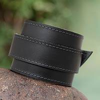 Men's leather wristband bracelet, 'Sporty Black' - Men's Modern Leather Wristband Bracelet