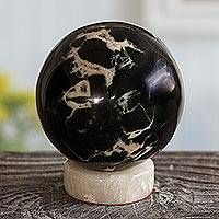 Septarium sphere, 'Fascination' - Septarium Gemstone Sphere with Calcite Stand