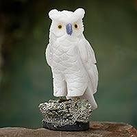 Onyx and pyrite sculpture, 'Vigilant Owl' - Artisan Crafted Onyx and Pyrite Owl Sculpture