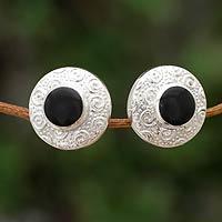Obsidian button earrings,