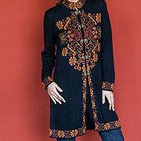 Alpaca blend sweater coat, 'Inca Black Hummingbird' - Knitted Alpaca Blend Coat with Embroidered Motifs