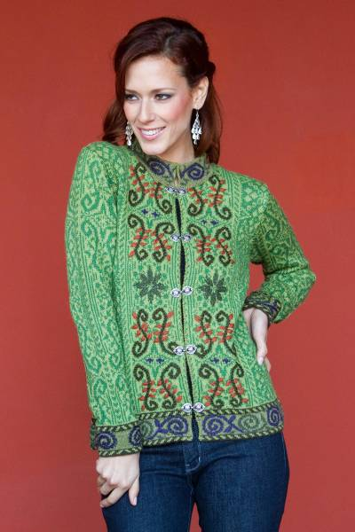 Alpaca blend cardigan, 'Pucara Flowers' - Hand Embroidered Art Knit Cardigan from Peru