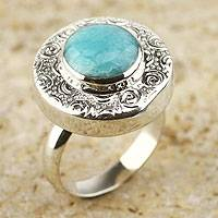 Amazonite cocktail ring, 'Life' - Fair Trade Sterling Silver and Amazonite Cocktail Ring