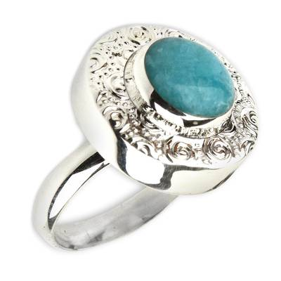 Fair Trade Sterling Silver and Amazonite Cocktail Ring