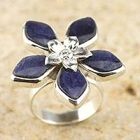 Sodalite flower ring, 'Forget Me Not' - Sodalite flower ring