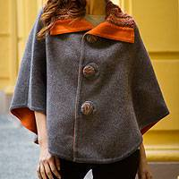 100% alpaca reversible cape, 'Misty Terracotta' - Reversible Baby Alpaca Cape