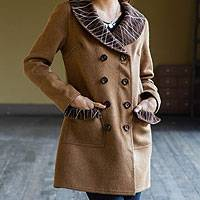 100% alpaca reversible coat, 'Warm Horizons' - Reversible Baby Alpaca Coat from Peru