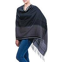 Alpaca and silk shawl, 'Night Mist' - Alpaca and silk shawl