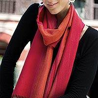 Alpaca and silk blend scarf, 'Rioja Roads' - Alpaca and Silk Scarf in Red and Orange Hues