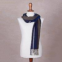 Alpaca and silk scarf, 'Sea Cliff' - Alpaca and silk scarf
