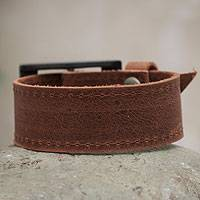 Leather wristband bracelet, 'Leisurely Rich Brown' - Leather wristband bracelet