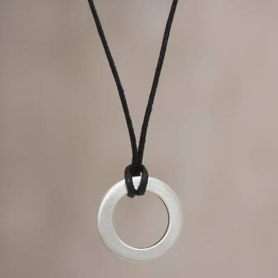 Men's sterling silver necklace, 'Perfect Circle' - Men's sterling silver necklace