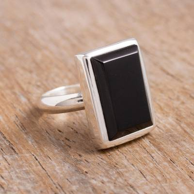 silver rings wholesale canada - Obsidian cocktail ring
