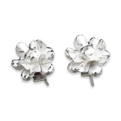 Sterling Silver Chrysanthemum Button Earrings