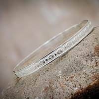 Sterling silver bangle bracelet, 'Inca Dream' - Sterling silver bangle bracelet