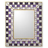 Reverse painted glass mirror, 'Golden Violets' - Reverse painted glass mirror