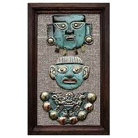 Copper and bronze wall art, 'Moche Masks'