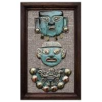 Copper and bronze wall art, 'Moche Masks' - Copper and bronze wall art