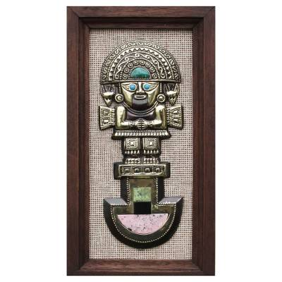Gemstone inlay bronze wall art, 'Tumi Deity' - Gemstone inlay bronze wall art