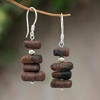 Mahogany obsidian beaded earrings,