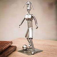 Recycled metal sculpture, 'Soccer Pro' - Handmade Recycled Metal Eco Art Sculpture