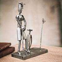 Recycled metal sculpture, 'Golf Pro' - Ingenious Recycled Metal Creation