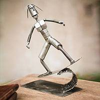 Recycled metal sculpture, 'Ride the Surf' - Recycled metal sculpture