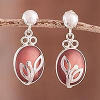 Rhodochrosite dangle earrings, 'Incipient Blossom' - Rhodochrosite dangle earrings