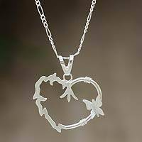 Sterling silver heart necklace, 'Sensitivity' - Sterling silver heart necklace