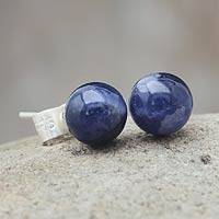 Sodalite stud earrings, 'Blue Enigma' - Sodalite stud earrings