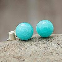 Amazonite stud earrings, 'Azure Enigma' - Amazonite stud earrings