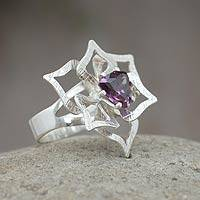 Sterling silver flower ring, 'Andean Dahlia' - Sterling silver flower ring