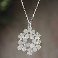 Sterling silver pendant necklace, 'Floral Harmony' - Artisan Crafted Sterling Silver Pendant Necklace