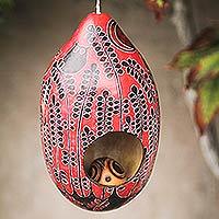 Mate gourd birdhouse, 'Scarlet Owl' (Peru)