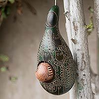 Mate gourd birdhouse, 'Emerald Owl' (Peru)