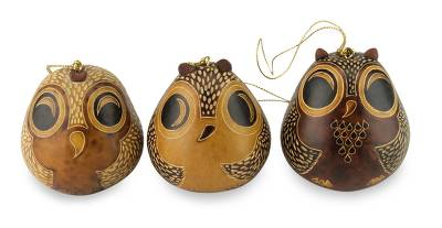 Adorable Mate Gourd Bird Ornaments (Set of 3)