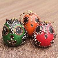 Mate gourd ornaments, 'Colorful Owls' (set of 3) - Handmade Folk Art Gourd Owl Ornaments (Set of 3)